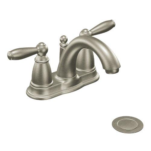 Moen CA6610BN Brantford Two-Handle Low Arc Bathroom Faucet, Brushed Nickel