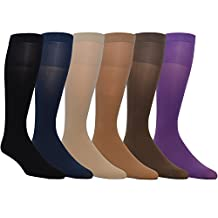 Zaftig Womens Plus Size Opaque Nylon Trouser Socks, Expandable Calf