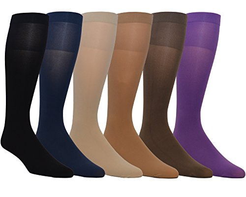Opaque Nylon - Zaftig Womens Plus Size Opaque Nylon Trouser Socks, Expandable Calf (Plus Size, 6 Pairs Assorted)