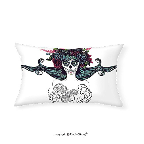 VROSELV Custom pillowcasesGirly Decor Collection Sugar Skull Girl Fashion Floral Head Band Hat Rebirth of Dearly Loved Ones Zombie Theme Print Bedroom Living Room Dorm - Of Charisma Headband