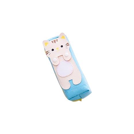 Fansi 1pc Estuche de lápices Square Cat Estuche de lápices de Dibujos Animados creativos Simples Cat para Gatos Estuche de lápices con Cremallera de ...
