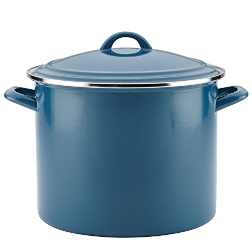 Ayesha Curry Home Collection Enamel on Steel Stockpot, 12-Quart, Twilight Teal