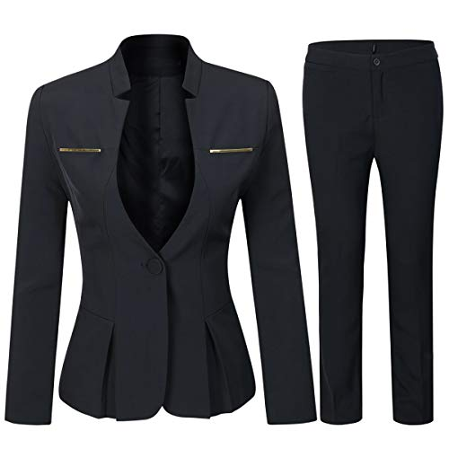 - Women's Elegant Business Two Piece Office Lady Suit Set Work Blazer Pant (Suit Set-Black, XS)