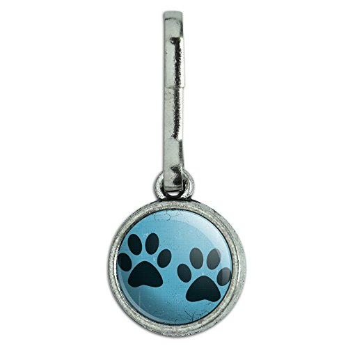 Antiqued Charm Clothes Purse Luggage Backpack Zipper Pull Paw Print Artsy Cat Dog - Blue Set