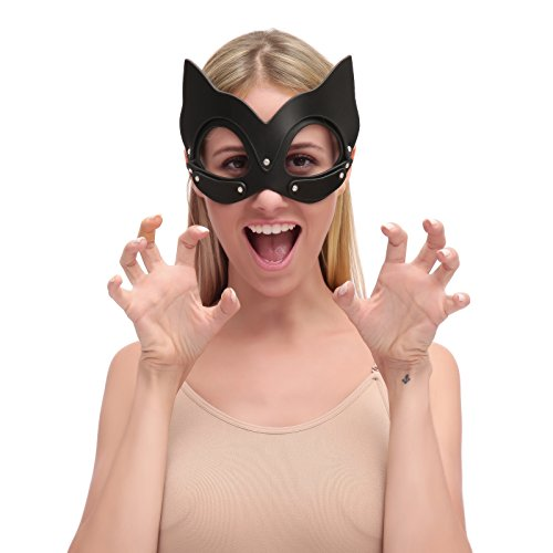 - HOT TIME Leather Rhinestone Masquerade Cat Ears Handwork Mask for Cosplay Costume (Black-Mask)