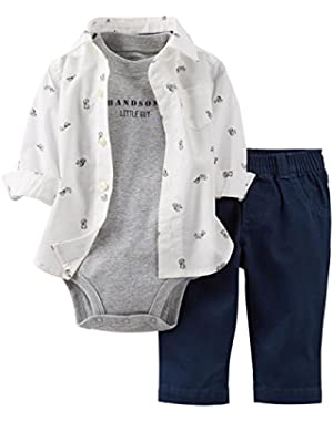 Carter's Baby Boys 3-Piece Shirt & Pant Set (Navy/Squirrel)