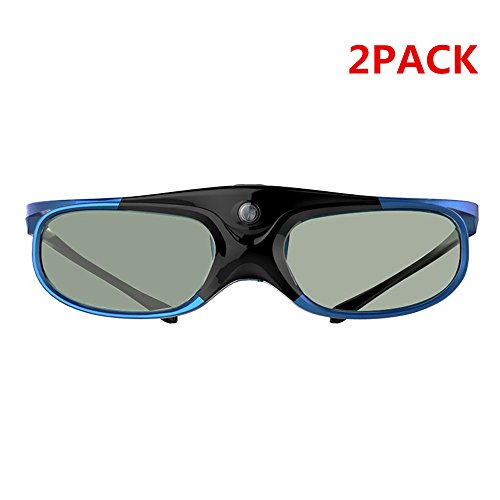 2pcs/lot blue 3d glasses DLP Link 3D Active Shutter Glasses for All DLP Link Projector(brands including BenQ, Acer, Optoma, Vivitek, NEC, Chi song, Ricoh)