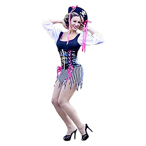 Center Gifts Four Piece Sexy Sheer Buccaneer Babe Costume Hot Black White and Pink Colors -