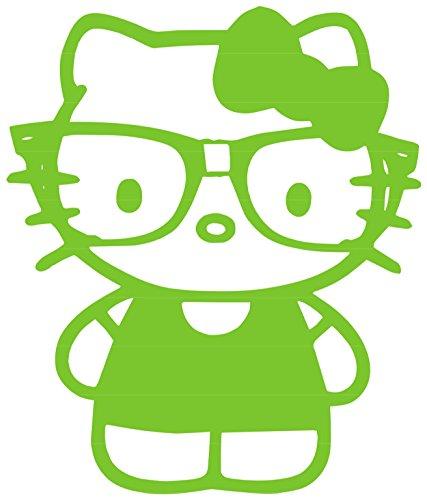 Nerdy Kitty Vinyl Sticker Decal (Green, 3.4