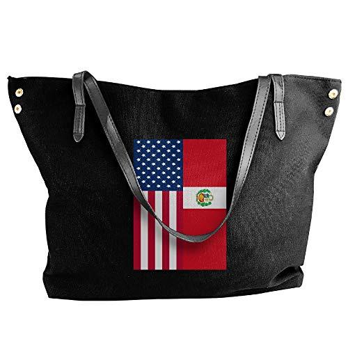 (SW98Q98 Peru American Flag Women's Leisure Shoulder Bag Canvas Handbag for Work Shoulder Tote)
