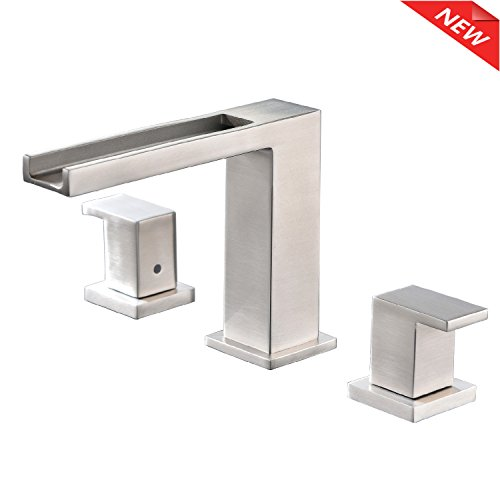 Ufaucet Stainless Steel Lavatory Three Holes Two Handle Lever Widespread Brushed Nickel Bathroom Faucet, Bathroom Sink Faucet With (Hole Two Handle)