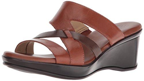 Naturalizer Women's VIVY Wedge Sandal, Brown, 9 M US - Brown Leather Wedge Sandal