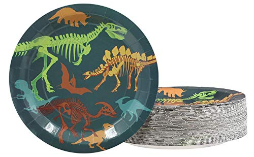 Dinosaur Plates - 80-Pack Dino Plates with Fossil Skeleton Print, Dinosaur Themed Kids Birthday Party Supplies, 9-Inch Round Cake Plates, Lunch, Dessert]()