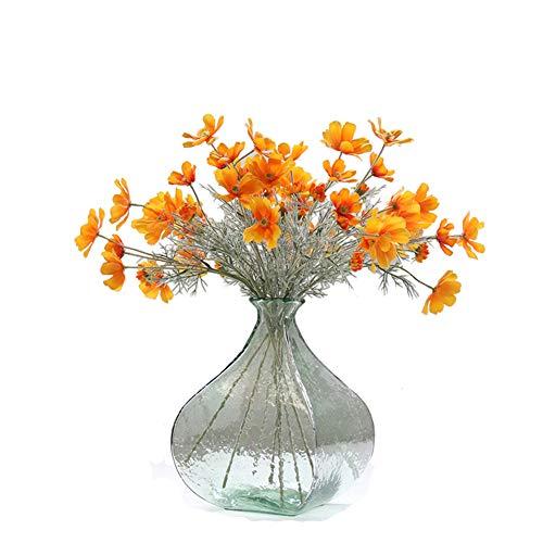 (Artfen 6 Pack Artificial Calliopsis Flowers Fake Silk Flower Table Kitchen Home Garden Party Wedding Decoration Approx 24'' High Warm Autumn Orange No Vase)