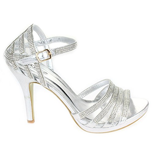 Prom Argent Sandal Mesdames Bridal de Chaussures soirée Soirée Argent Femmes Taille High de Noir Mariage Diamante Rouge Aarz Heel Or Champagne p4ARq0xwvn