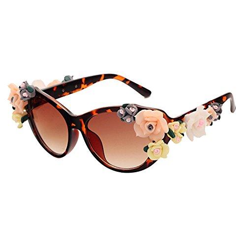 mujer gafas de Vacaciones Gafas sol Barroco rosa de mujer sol playa 6 Retro Flores de TUHqUxvE