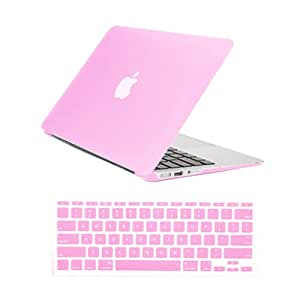 """SmackTom(TM) 2 in 1 Rubberized Hard Case Skin for Macbook Air® 11"""" A1370 / A1465 With Protective Keyboard Cover-Pink"""
