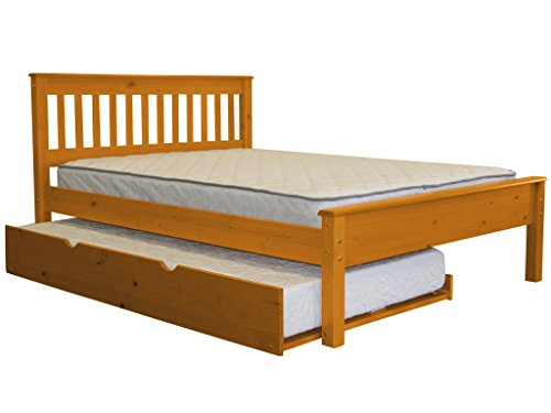 - Bedz King Mission Style Full Bed with a Twin Trundle, Honey