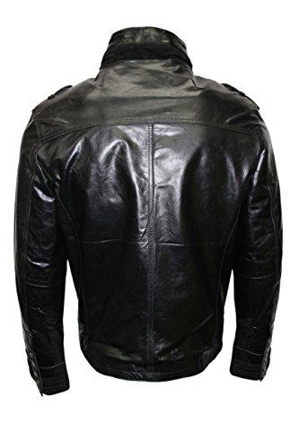 BATTALION Hommes NOIR 2212 style militaire Steam Punk véritable veste en cuir manteau