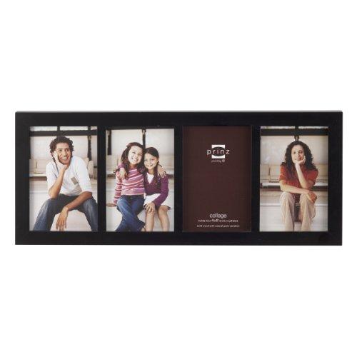 PRINZ Carolina Wood Photo Frame, 4/4 by 6-Inch, Black