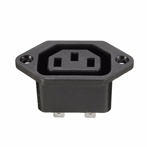 Excellway Chassis Female 15A/250V AC IEC C13 C14 Inline Socket Plug Adapter Mains Power Connector