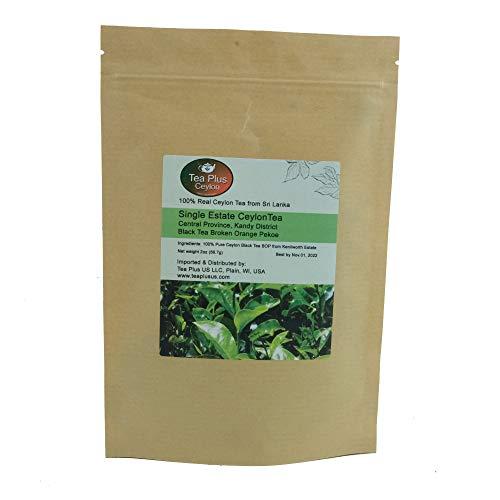 Ceylon Black Tea BOP Single Estate Kenilworth Loose Leaf Tea from Sri Lanka Pouch 2oz (Kenilworth Estate Tea)