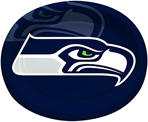 (Creative Converting Officially Licensed NFL Oval Paper Platters, 8-Count, Seattle Seahawks)