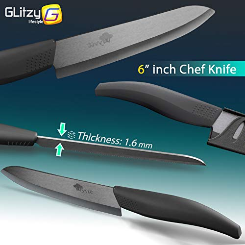 Gano Zen Ceramic Knife 6 5 4 3 Inch Kitchen Chef Knives Zirconia Black Blade Utility Slicing - Paring Fruit Vegetable Meat - Cutter Tool by Gano Zen (Image #2)