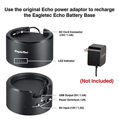 P070 Standard Capacity10080 mAh Speaker Stand for  Alexa Smart Speaker Echo Plus 1st Generation /& Echo 2nd Generation External Battery Pack Eagletec Portable Echo Battery Base
