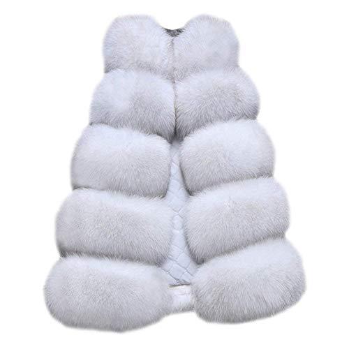 FOLOBE Chaleco Elegante Foxcolor Faux Fox de Mujer Fur Chaqueta Chaleco cálido Outwear Chaleco Delgado RrqpRwI