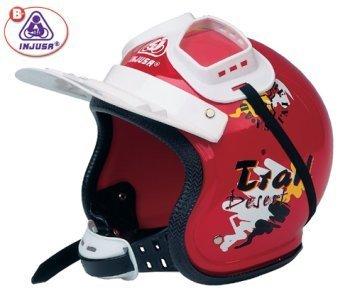 Casco infantil deportivo rojo con gafas. Marca Injusa de Cross