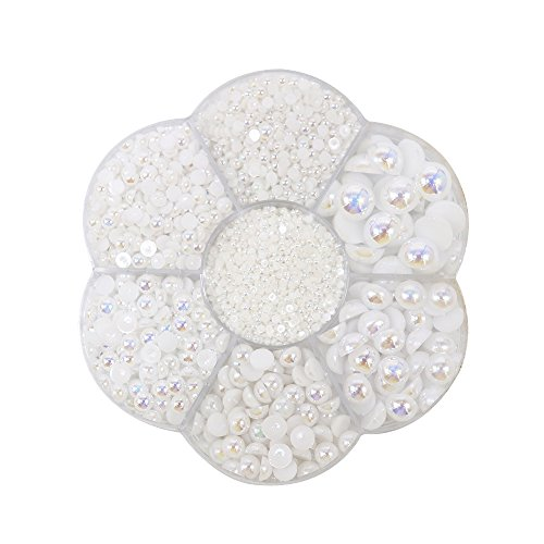 (Approx 5600pcs Mixed Size DIY Half Pearl Bead Flat Back Plastic Craft Plastic Box (white) )