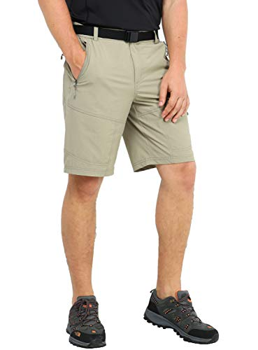 MIER Men's Stretch Tactical Shorts Lightweight Outdoor Cargo Shorts with 5 Zipper Pockets, Quick Dry and Water Resistant, Rock Grey, 36