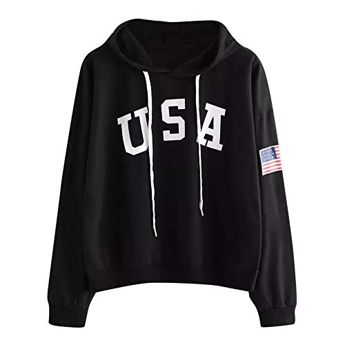 - HGWXX7 Women's Casual USA Letter Flag Printed Long Sleeve Hoodie Pullover Tops Blouse Sweatshirt(S,Black)
