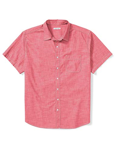 Amazon Essentials Men's Big & Tall Short-Sleeve Chambray Shirt fit by DXL, Red, 3XLT (Mens 3xlt Shirts Short Sleeve)