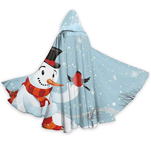 Adult Hooded Halloween Cloak Costumes Party Cape,Snowfall Festive New Years Eve Celebration Theme Xmas Figure with Bullfinch ()