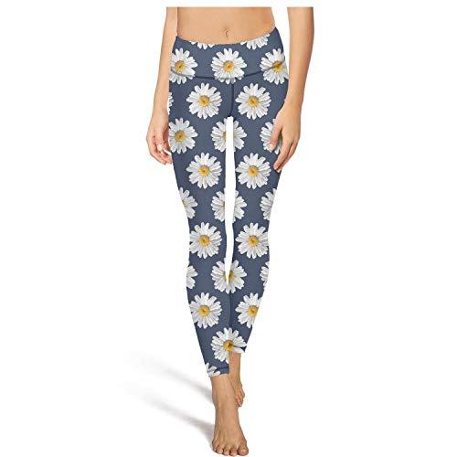 Cool high Waisted Leggings for Women Capris Yoga Pants Daisy Pattern on Navy Jogging Leggins