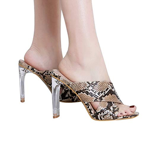 Women Snakeskin Glass Sandal High Heel Slipper Open Toe Slide Platform Sandal (Brown, US:5.0) ()
