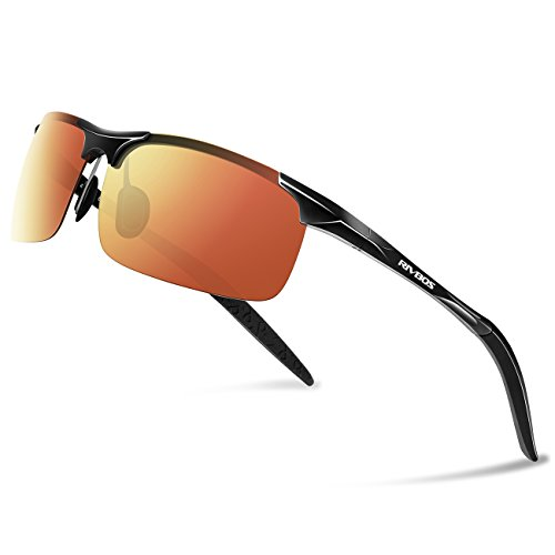 RIVBOS Polarized Sports Sunglasse for Men Women, Glasses for Cycling Running Fishing Golf Baseball Fashion Metal Frames RBS092 (Black Ice Red - Scratch Resistant Polarised Sunglasses