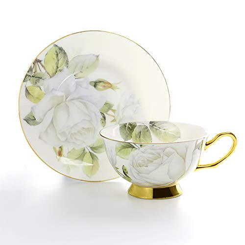 Rose Saucer White - ACOOME Tea Cup with Saucer Sets 6.8oz Vintage Royal Bone China White Rose Pattern Tea or Coffee Cups