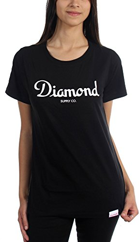 Diamond Supply Co. - Womens Champagne Script T-Shirt, Size: Large, Color: Black (Diamond Supply Co Shirts Women compare prices)
