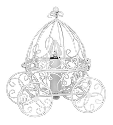 Grandview Gallery Princess Table Lamp - Pretty Carriage Lamp for Little Girls Fairy Tale or Cinderella Themed Bedroom, Matte Snowy White