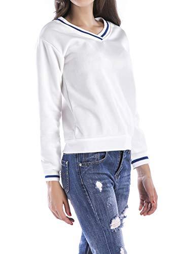 Bluse Simple Felpe Patchwork Maglieria Autunno Casual Maglietta Jumper V e Collo Maglioni Tops Pullover Lunga Quotidiani Moda Manica Primavera Fashion Bianca Donne rqPSrX