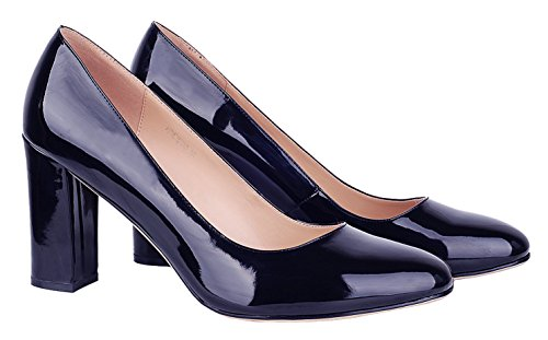 Verocara B High Office Heel Navy and for Party Pumps Women's Thick Simple Pointed Toe Dress Silhouette 6rSq6x5wp