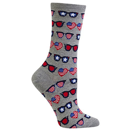 Hot Sox Women's Originals Fashion Crew Socks, Patriotic Sunglasses (Sweatshirt Grey Heather), Shoe Size 4-10/Sock Size 9-11 Sox Art Glass