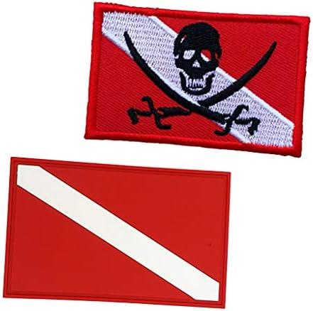 2ピース スキューバ ダイビング ダイバー 旗 バックパック ギアバッグ パッチバッジ