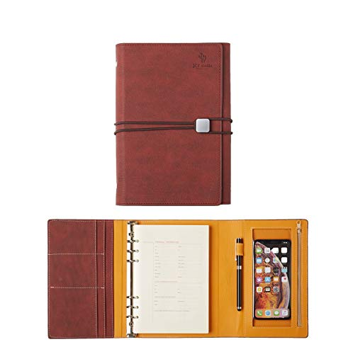 Portfolio Recycled Business Card Holder - JCT Hardcover Organizer Notebook - Faux Leather Journal with Pen Holder + Phone Pocket + Business Card Holder + Binders, Bonus Touch Screen Pen & A5 6 Hole Resume Papers & Sticker (Valiant Poppy)