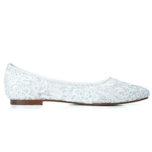 White Prom Wedding Flats Shoes Bridal Lace Women's Evening Pionted LOSLANDIFEN Toe TRUxUv