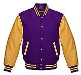 Men's Authentic American Varsity Letterman Jacket Purple Wool Blend & Genuine Gold Leather Sleeves College School University Team Class Baseball Jacket (2XL)