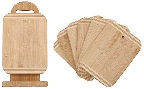 (HTB Bamboo Wood Two-Tone Kitchen Cutting and Serving Board, 6 Piece Set,100% Organic Non-Slip Board for Food Prep, Meat, Fruits,05-T)